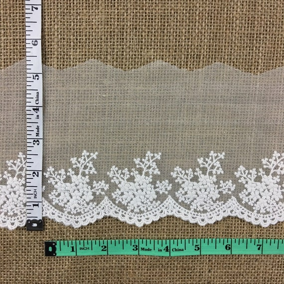 """Ivory Embroidered Mesh Trim Lace Scalloped Border 3.5/""""-10/"""" Wide Mul-Ivory"""