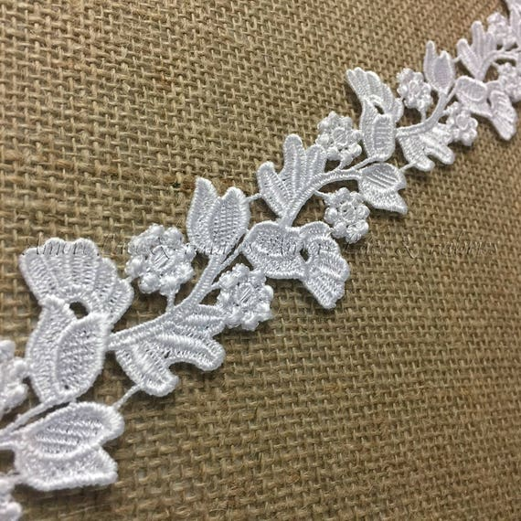 White DIY Sewing Garments Belt Sash Waistband Crafts Veils Costumes White 2 Yards Venise Trim Lace Floral Garden Run Double Border 2 Wide Many Uses ex