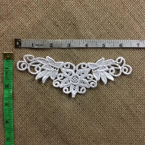 1 Pair Flower Motif Venise Collar Lace Trims Applique DIY Sewing Craft Gold Lace