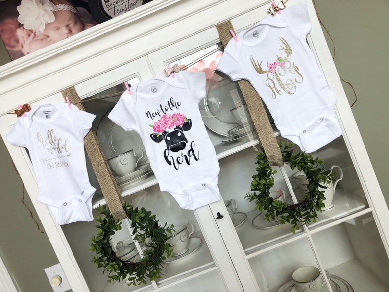New to the Herd Baby Girl Onesie newborn photo outfit ...