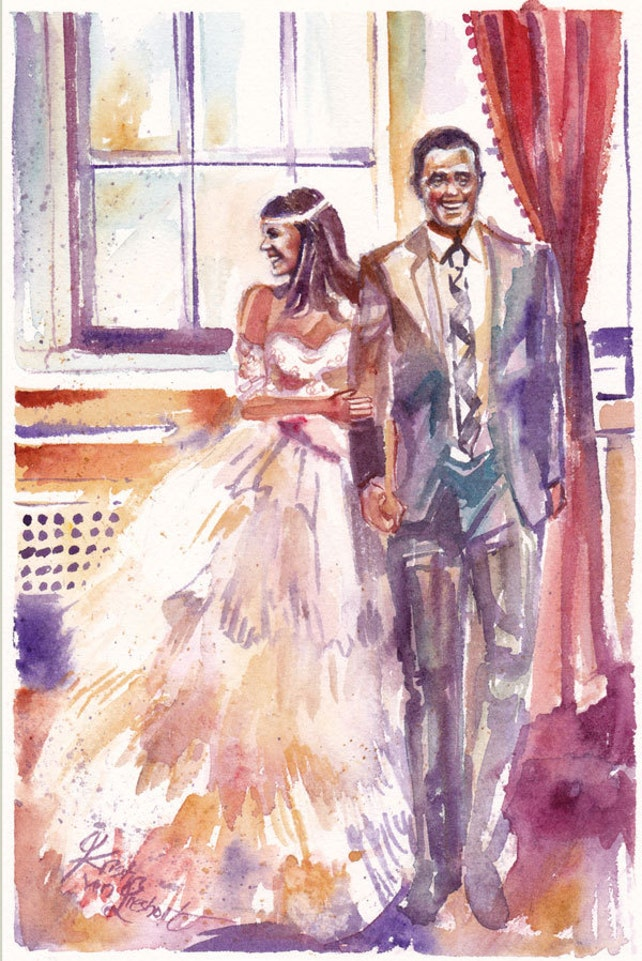 Wedding Anniversary Watercolor Painting Gift 35 Deposit For Etsy