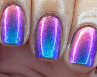 Paradise by Polish Me Silly Oil Slick Mega Multichrome Colorful Pop Nail Polish Rainbow Indie Galaxy Polish Lacquer Water Marble Stamping