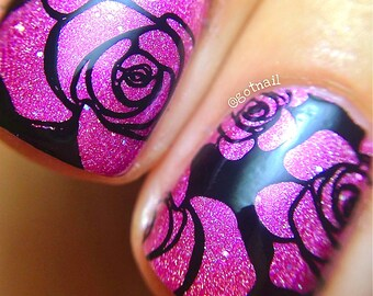 Holographic - Rosy Cheeks:  Custom-Blended Glitter Nail Polish / Indie Lacquer / Polish Me Silly