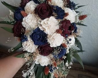 Custom Bouquet Fall Wine Navy Cream Burnt Orange Rust Sola Wood and Dried Flowers Greenery Eucalyptus Wedding Bridal Bridesmaid Style 311