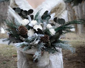 Custom Bouquet Winter White Ivory Sola Wood and Dried Flowers Faux Greenery Pinecone Cedar Evergreen Boho Wedding Bridal Bridesmaid Style 40