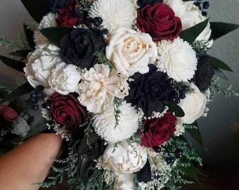 Custom Bouquet Cascade Red Black Ivory Sola Wood and Dried Flowers Greenery Eucalyptus Wedding Bridal Bridesmaid Gift Apple Moody Style 88