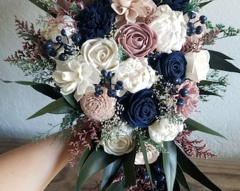 Custom Bouquet Cascade Wild Dusty Desert Rose Navy Sola Wood and Dried Flowers Greenery Eucalyptus Wedding Bridal Bridesmaid Gift Style 111