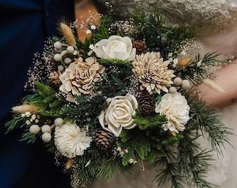Custom Bouquet Winter Sola Wood and Dried Flowers Faux Greenery Pine cone Cedar Juniper Navy Grey Boho Wedding Bridal Bridesmaid Style 46