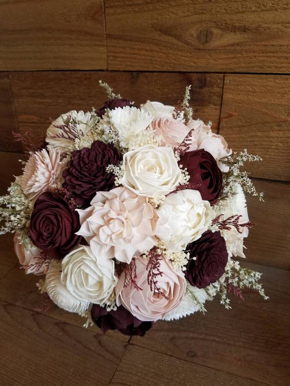 Custom Burgundy Wine and Blush Sola Wood Flower Bouquet dried