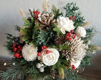 Custom Bouquet Winter Red Berries Sola Wood and Dried Flowers Faux Greenery Pine cone Cedar Juniper Navy Grey Boho Wedding Bridal Style 52