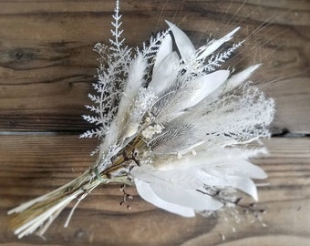 Custom Bouquet White Ivory Brown Fall Winter Boho Pampas Faux and Dried Flowers Eucalyptus Wedding Home Decor Bridal Bridesmaid Gift Style