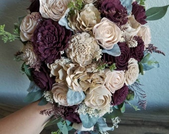 Custom Bouquet Champagne Wine Blush Sola wood Dried Flower Faux Greenery Elegant Vintage Wedding Set Bridal Bridesmaids Style 61Last Forever