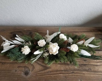 """30"""" Christmas Winter Swag Centerpiece Door Stairs Mantle Table Wedding Faux and preserved Greenery Sola Wood Flowers Pinecones White Ivory"""