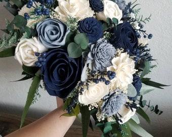 Custom Bouquet Cascade Slate Dusty Blue Navy Sola Wood and Dried Flowers Greenery Eucalyptus Wedding Bridal Bridesmaid Gift Style 180