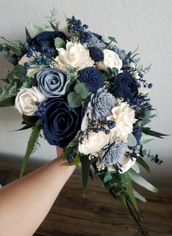 Custom Bouquet Cascade Slate Dusty Blue Navy Sola Wood And Dried Flowers Greenery Eucalyptus Wedding Bridal Bridesmaid Gift Style 180 By Stella Designs Catch My Party