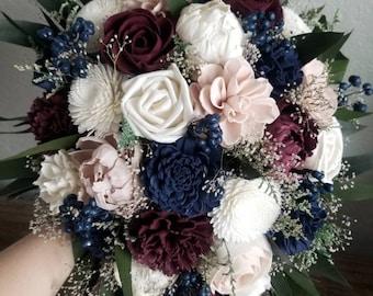 Custom Bouquet Cascade Burgundy Blush Wine Navy Sola Wood and Dried Flowers Greenery Eucalyptus Wedding Bridal Bridesmaid Gift Style 211