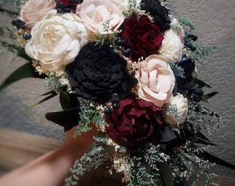 Custom Bouquet Cascade Blush Red Black Ivory Sola Wood and Dried Flowers Greenery Eucalyptus Wedding Bridal Bridesmaid Gift Moody Style 87