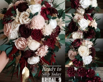 Ready to Ship Wedding Package Set Large Cascade Bridal Bouquet 9 Boutonnieres 3 Small Bridesmaid Burgundy Wine Blush Gold Sola Wood Flowers
