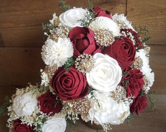 Custom Bouquet Red Gold Brooch Ivory Sola Wood and Dried Flowers Wedding Bridal Bridesmaid Set Winter Vintage Black Apple Red Style 101
