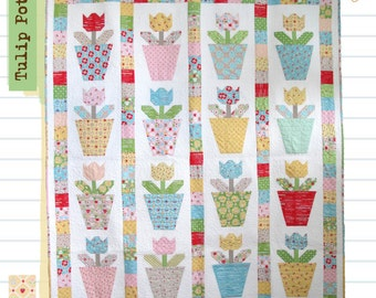 Tulip Pots Quilt and Tulip Pillows