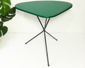 Coffee Table Side Table - Mid Century Modern Tripod - Green Faux Leather - Atomic Plant stand - Vintage - Flower Table - French 1950s 1960s