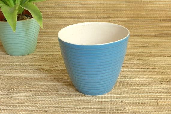Pot En Ceramique Pot De Fleur Bleu Adco Mid Century Mcm Tiki