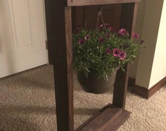 Wood hanging basket stand