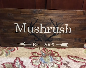 "16x36"" Wood Name Sign- Antlers"
