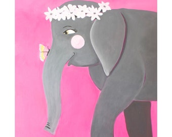 Elephant Art Print of Original Painting