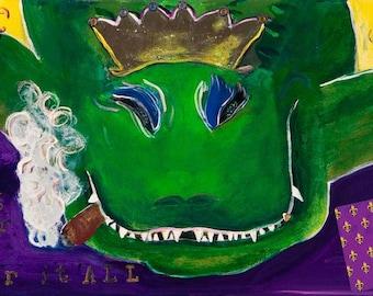 Lousiana Alligator Playing Poker, King Gator, Art Print of the Original Painting
