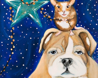 The Holiday Art Print of Bulldog and Mouse