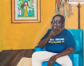 This is Pop. An African American man in the living room. An original Painting.