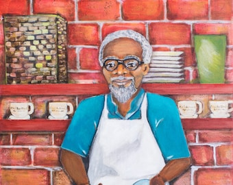 This is Poppee. An African American man making gumbo. An original Painting.