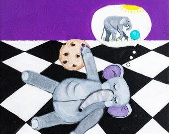 As soon as I take a nap. Dreaming Elephant. An original painting