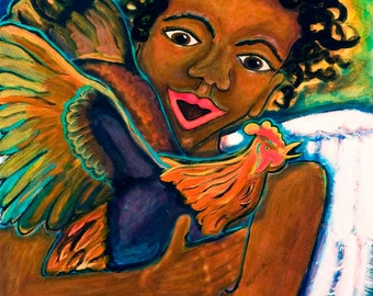 African American Angel with Rooster Art Print-- Feathered Friends