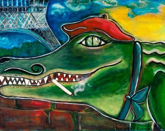 French Alligator by Eiffel Tower with Beret, Art Print--Monsieur Gator