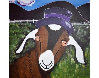 Goat in a Hat Art Print of Original Painting