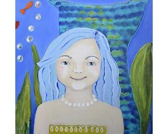 Mermaid Child Art Print of Original Painting