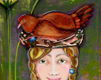 Girl with Chicken, In the Garden, Limited Edition Art Print