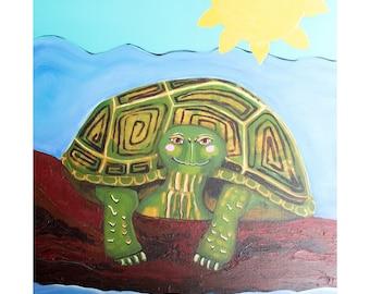 Turtle on a Log Art Print of Original Painting