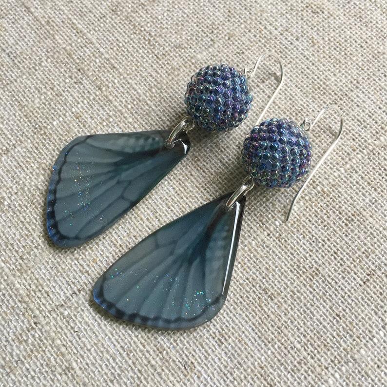Steel Blue Butterfly Resin Earrings