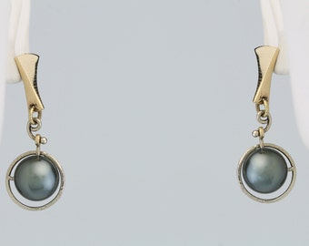 """Cook Island Pearl """"Planetary"""" Post Earrings 14 Kt Yellow Gold 67-10006"""
