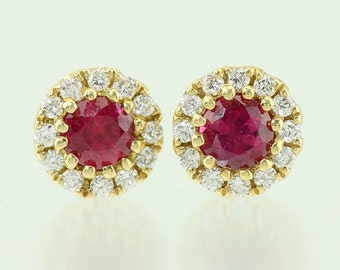 18KT Yellow Gold Ruby & Diamond Halo Earrings 47-10201