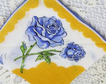 Very Vintage Hankie Blue Roses on Gold  #R-54