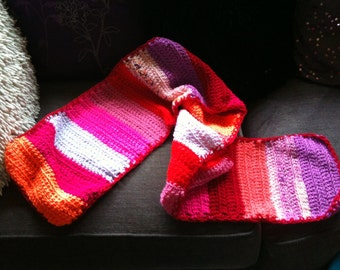 Crocheted scarf - multi coloured - warm colours reds/pinks/oranges/purples