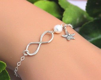 Personalized Starfish Bracelet in Sterling Silver - Infinity Starfish bracelet - Beach Bracelet - Sterling Silver Infinity Bracelet seacharm