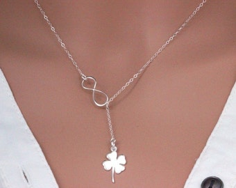 Infinity Clover Necklace, Sterling Silver Infinity Necklace, Y Necklace Silver, To Infinity and Beyon, Y lariat Necklace, Layriat Necklace,