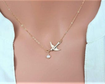 Confirmation Gifts - Gold Bird Necklace - Sparrow Flying Bird Necklace- Gold Flying Bird Necklace - Dove Bird Necklace - Bird Jewelry