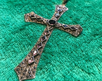 "1970s Amethyst 4"" Sterling Marcasite Gothic Cross Pendant Necklace"