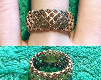 Vintage GUCCI 18k Yellow Gold Lace Filigree Ring
